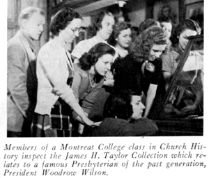 1951 Montreat College class looksing a Woodrow Wilson items at Historical Foundation