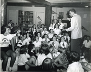 Billy Graham and Camp Montreat girls, c.1950