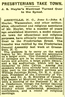 1908 article Presbyterians take town.